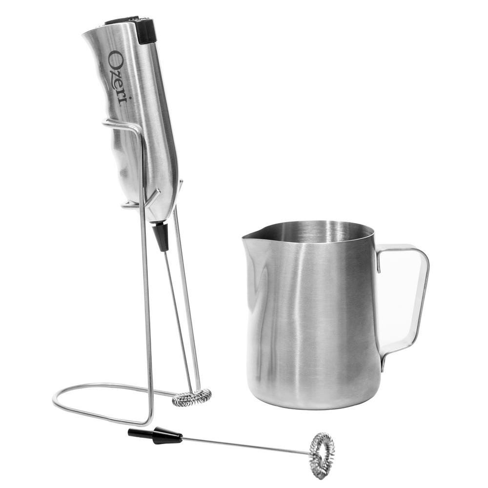 Ozeri OZMF2 Deluxe Stainless Steel Milk Frother and 12-Ounce Frothing Pitcher with Extra Whisk Attachment, Silver