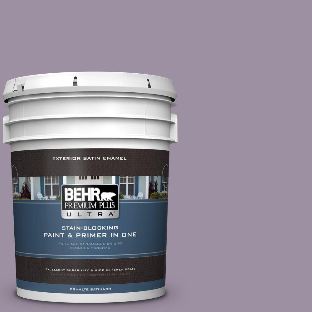 BEHR Premium Plus Ultra 5-gal. #660F-5 Amethyst Phlox Satin Enamel Exterior Paint, Purples/Lavenders