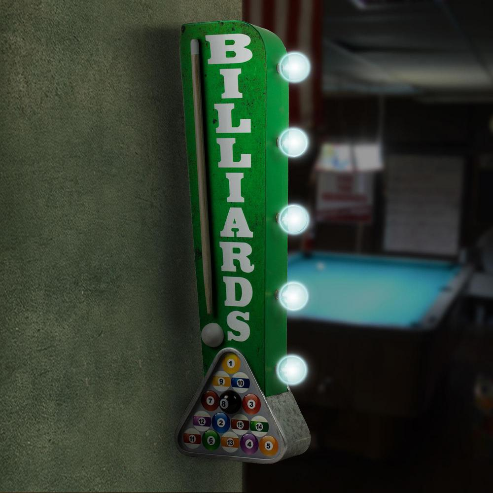 Billiards Pool Cue Vintage Marquee LED Sign