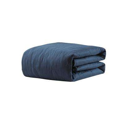 Deluxe Navy 60 in. x 70 in. Quilted Cotton 12 lbs. Weighted Blanket