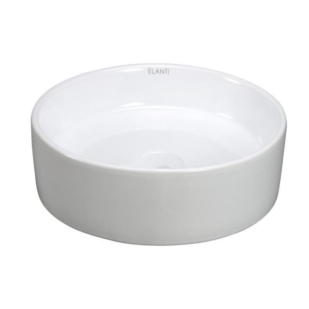 Elanti Round Vessel Bathroom Sink in White