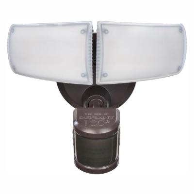 180-Degree Bronze Motion Activated Outdoor Integrated LED Twin Head Flood Light with Adjustable Color Temperature