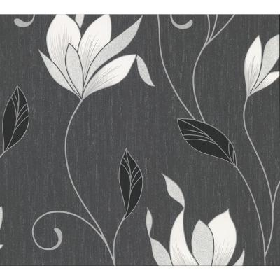 Gallagher Charcoal Floral Trail Wallpaper Sample