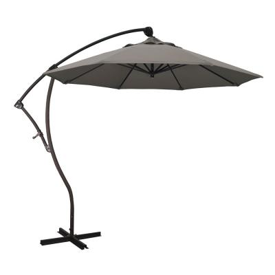 9 ft. Bronze Aluminum Cantilever Patio Umbrella with Crank Open 360 Rotation in Taupe Pacifica