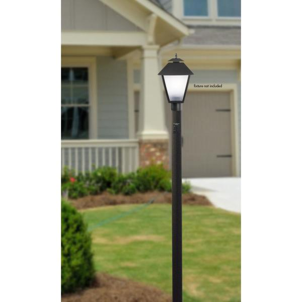 Solus 7 Ft Black Outdoor Direct Burial Lamp Post With Convenience Outlet Fits 3 In Post Top Fixtures 7 Cnca Bk The Home Depot