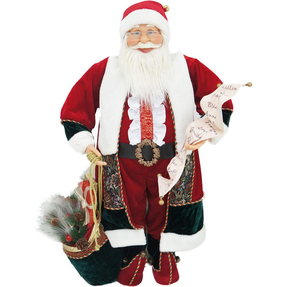 christmas music and motion santa with list and toy sack - Is Home Depot Open On Christmas Day