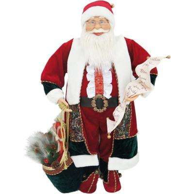 36 in. Christmas Music and Motion Santa with List and Toy Sack