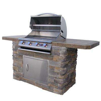 7 ft. Natural Stone BBQ Island with 4-Burner Grill in Stainless Steel