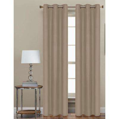 84 in. L Polyester Form Blackout Grommet Curtain Panel in Taupe (Set of 2)