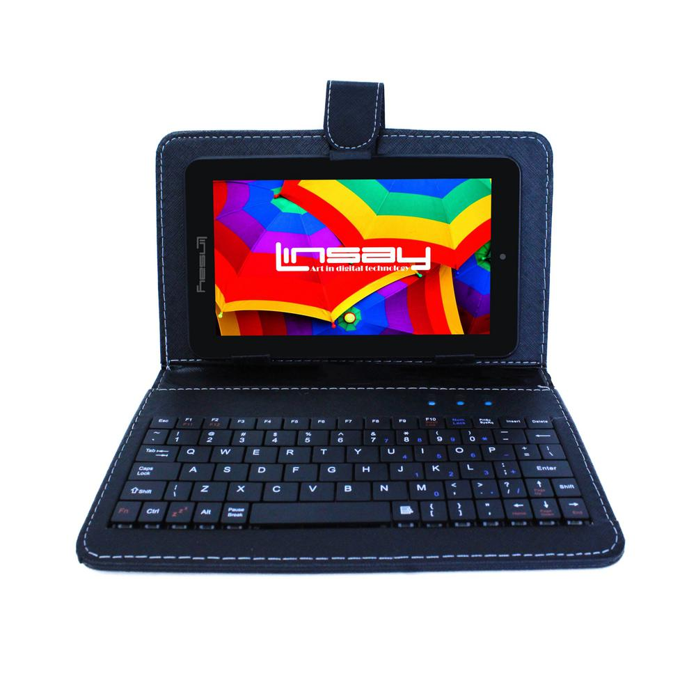 LINSAY 7 in. 2GB RAM 16GB Android 9.0 Pie Quad Core Tablet with Black Keyboard was $149.99 now $59.99 (60.0% off)