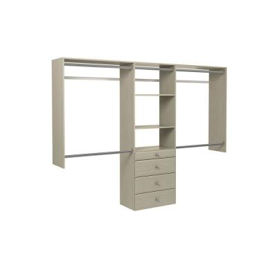 Ultimate 60 in. W - 96 in. W Rustic Grey Wood Closet System