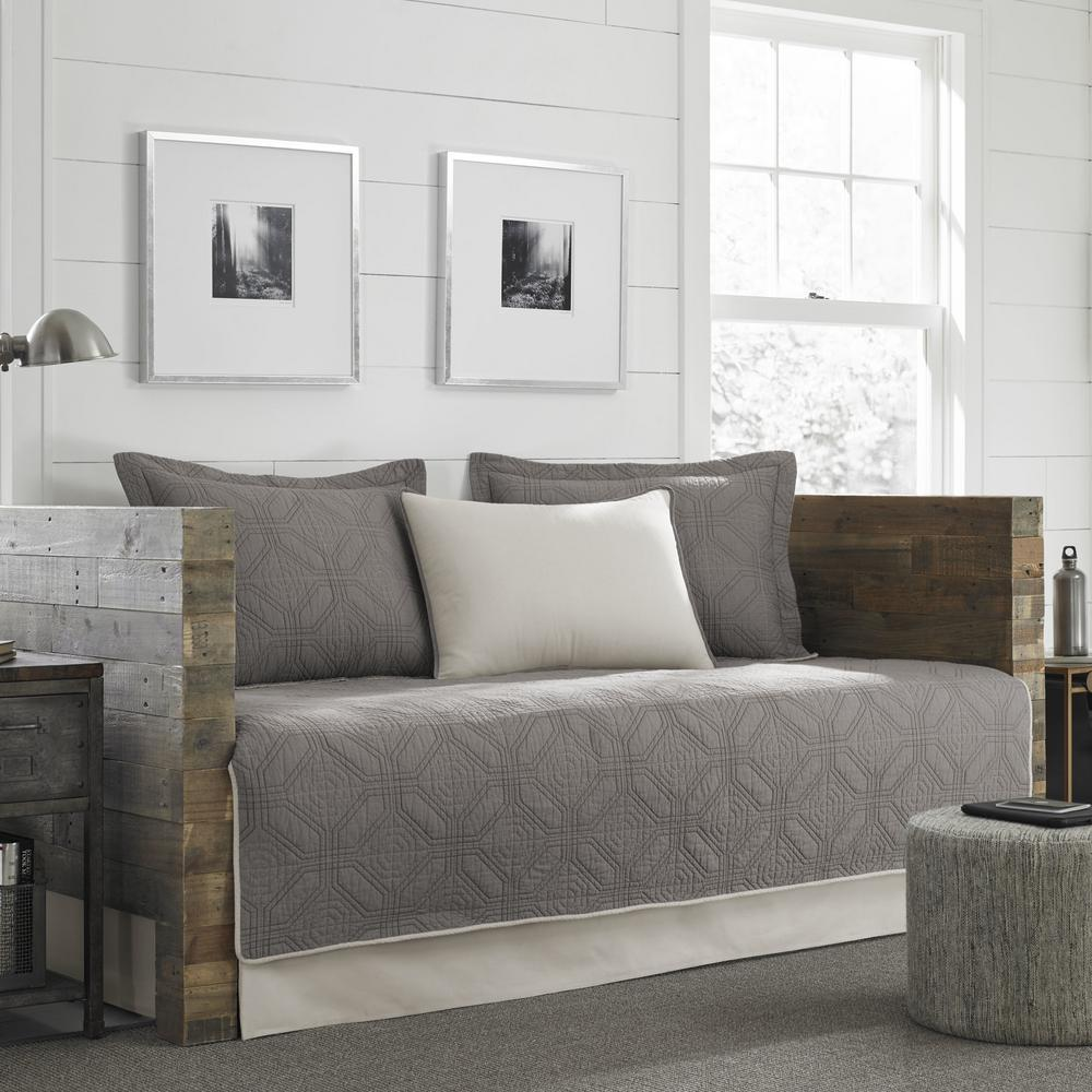Ed Bauer Axis 5 Piece Grey Twin Reversible Daybed Bedding Set