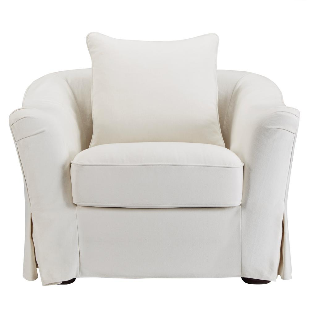 HomeSullivan Sydney Off White Down Filled Slipcovered Arm Chair