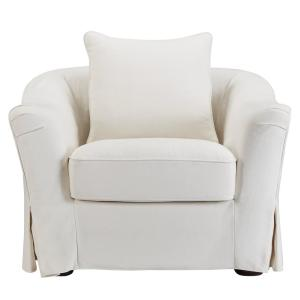 sydney offwhite downfilled slipcovered arm chair