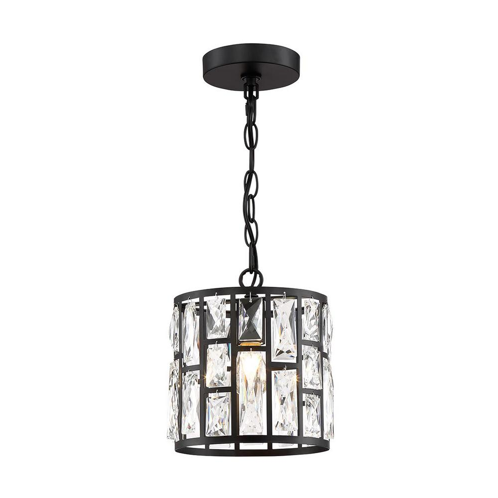 HomeDecoratorsCollection Home Decorators Collection Kristella 1-Light Matte Black Pendant with Clear Crystal Shade