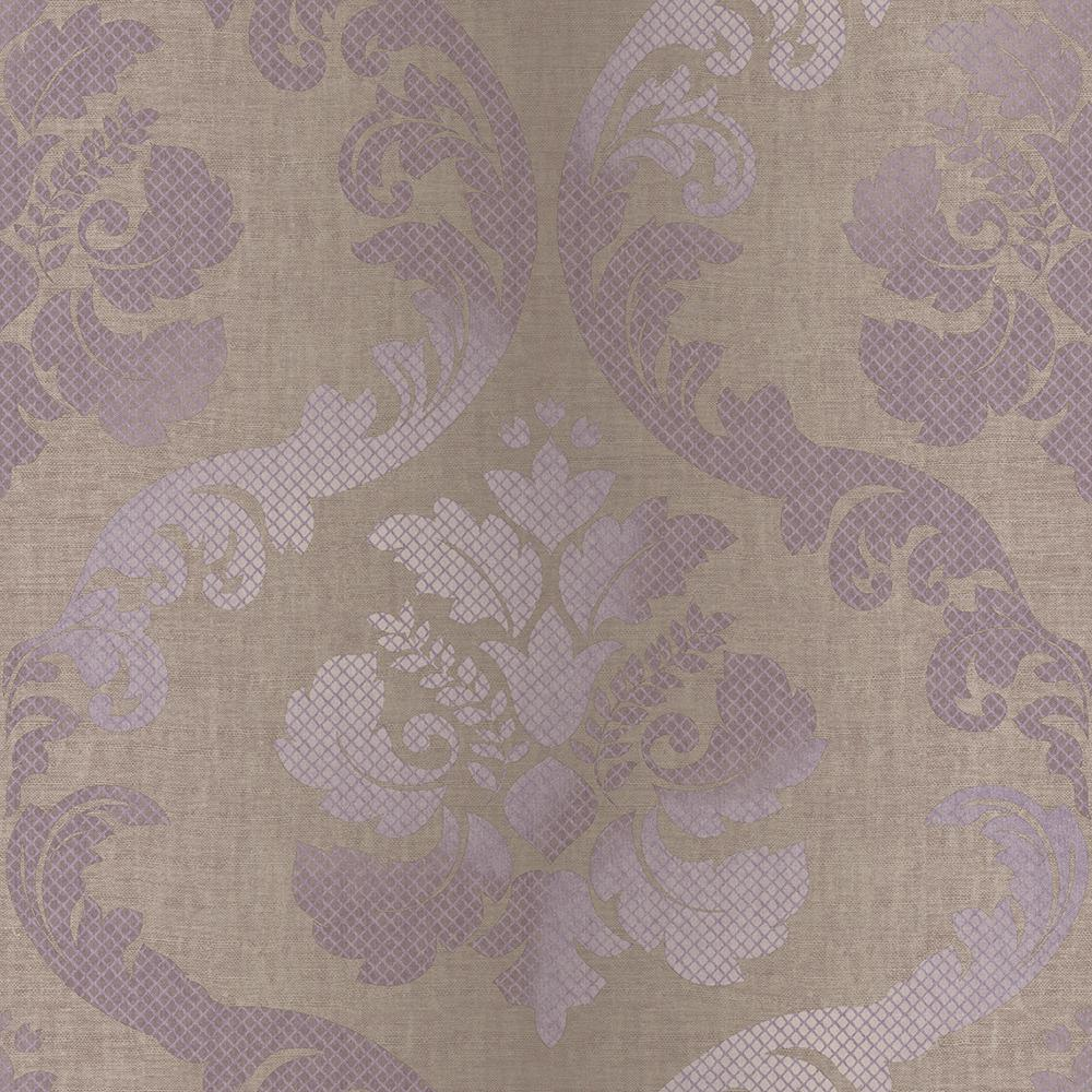 Chesapeake Delilah Purple Tulip Damask Wallpaper