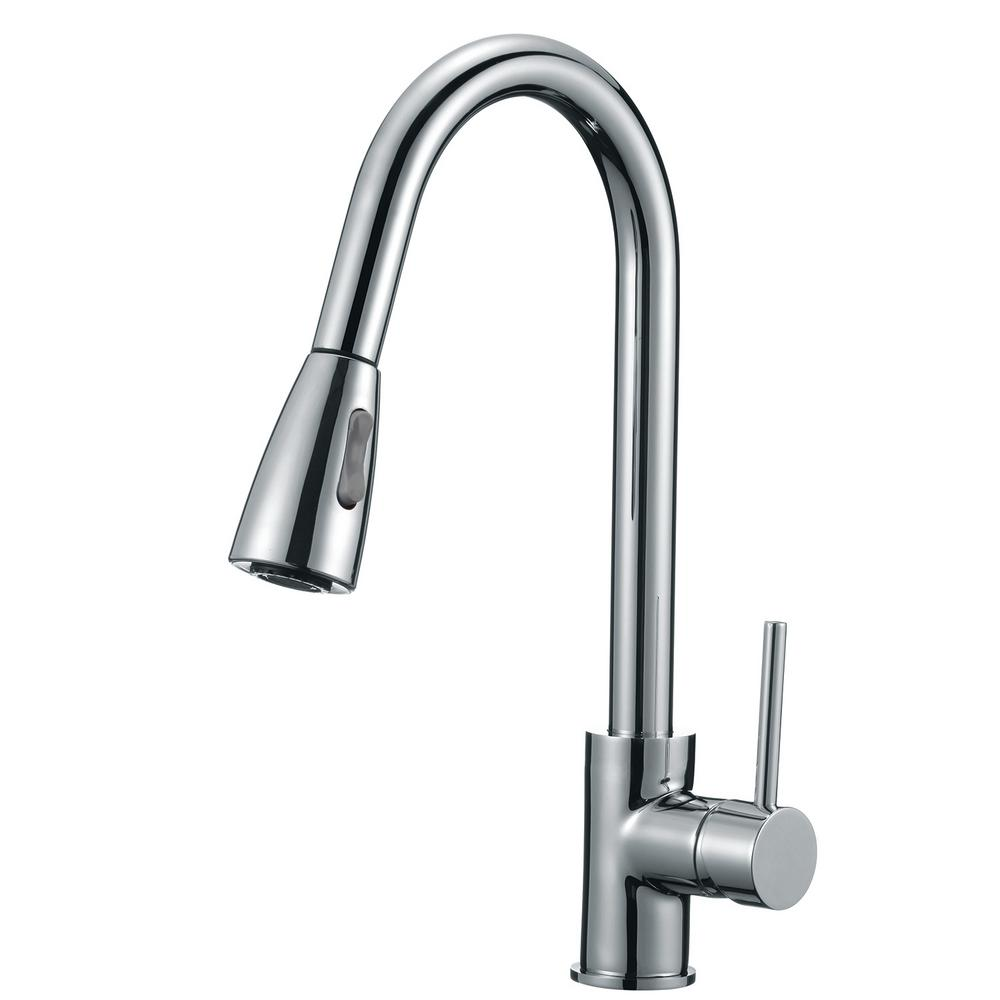 Single-Handle Pull-Down Sprayer Kitchen Faucet with Soap Dispenser in Polished