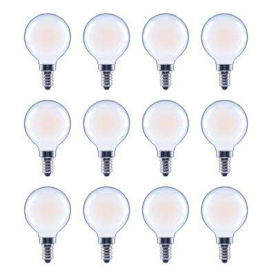 60-Watt Equivalent G16.5 Globe Dimmable Energy Star Frosted Glass Filament Vintage LED Light Bulb Daylight (12-Pack)