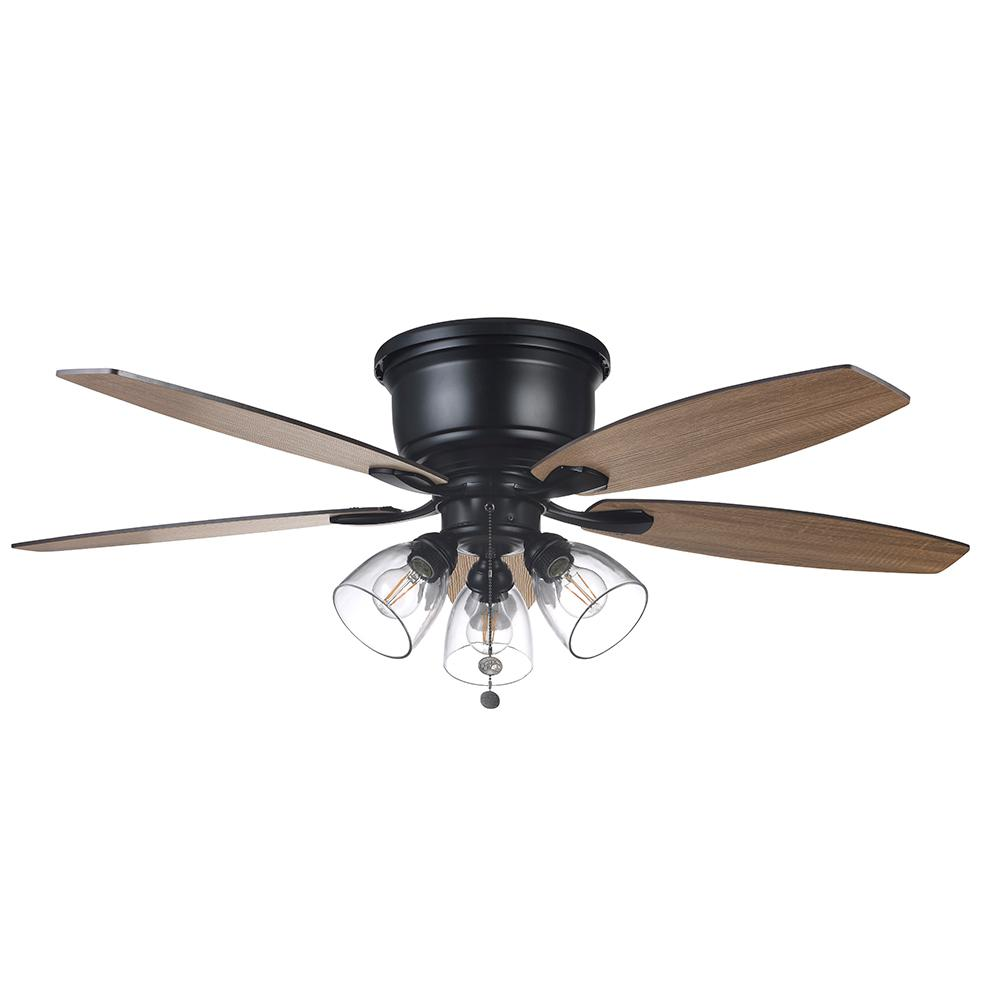Hampton Bay Stoneridge 52 in. Matte Black Hugger LED Ceiling Fan with Light Kit