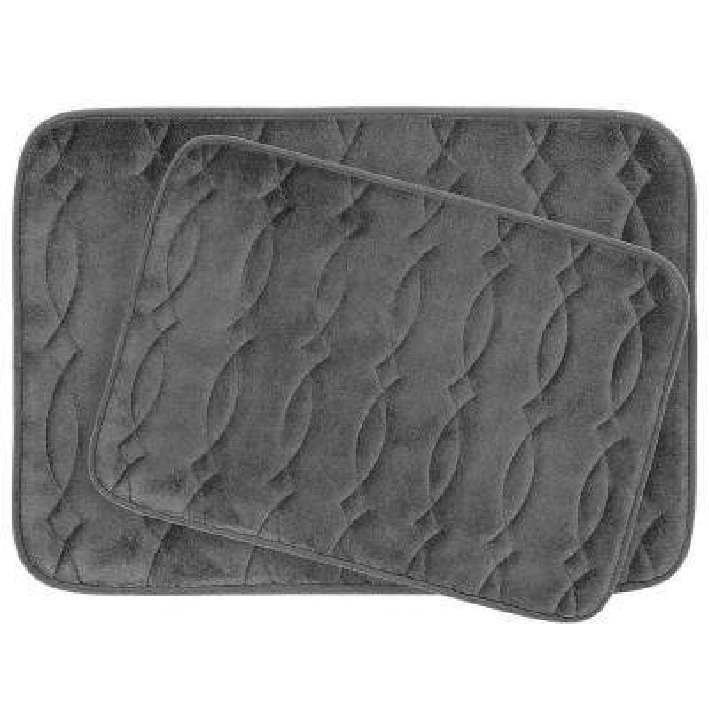 Grecian 17 in. x 24 in./ 20 in. x 34 in. 2-Piece Memory Foam Bath Mat Set in Dark Gray