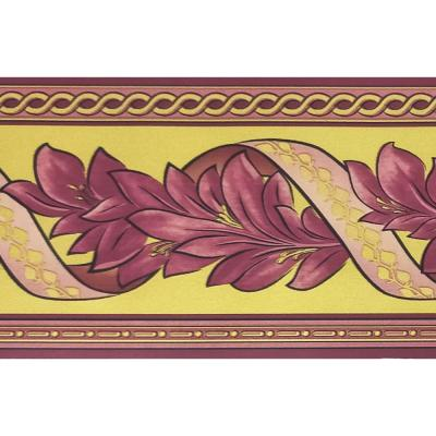 Falkirk McGhee Peel and Stick Damask Mauve Taupe, Yellow Leaves, Scrolls Self Adhesive Wallpaper Border