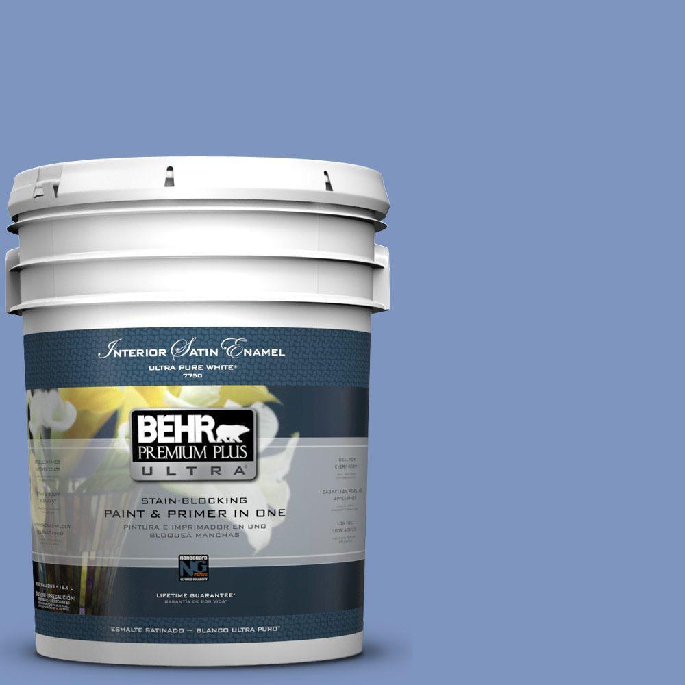 BEHR Premium Plus Ultra 5-gal. #M540-5 Blue Satin Satin Enamel Interior Paint