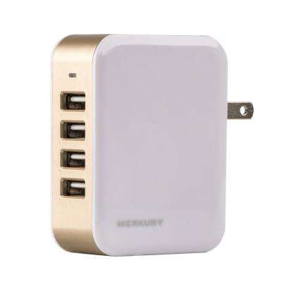 PLUG4POWER 4.8 Amp 4-Port USB Wall Charger, Gold