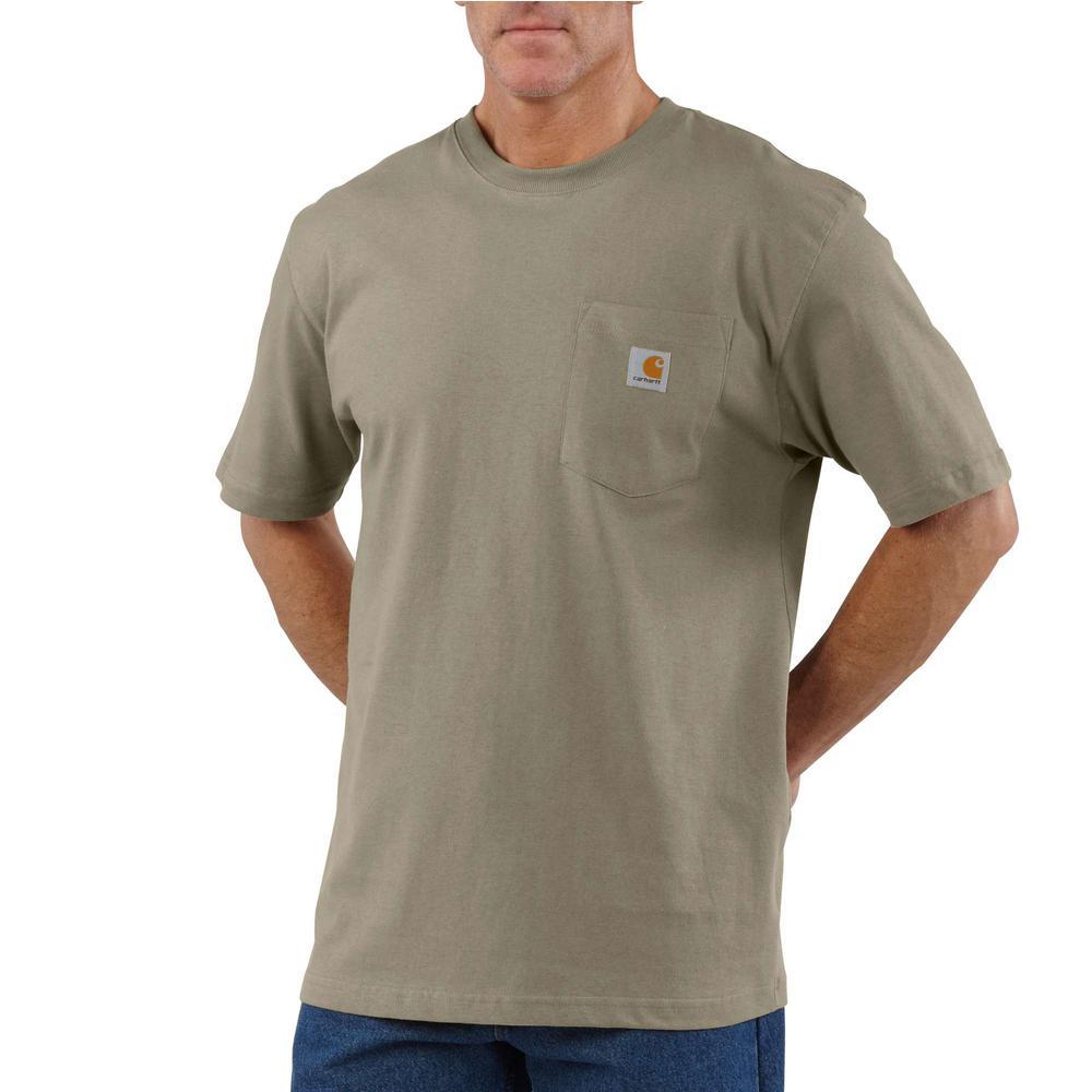 Carhartt Men's 4X Large Tall Desert Cotton Workwear Pocket Short Sleeve T Shirt Mid Weight Jersey Original Fit K87 DES The Home Depot