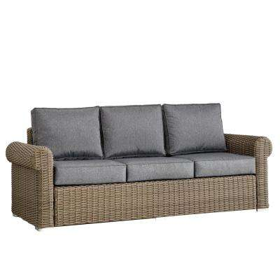 Camari Mocha Rolled Arm Wicker Outdoor Sofa with Gray Cushion