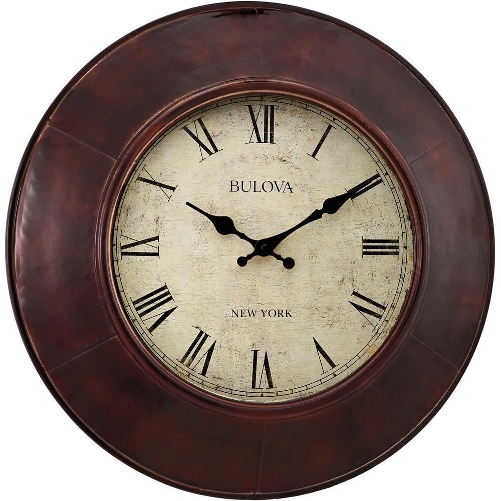 Bulova 18 In Metal Case Wall Clock C4825 The Home Depot