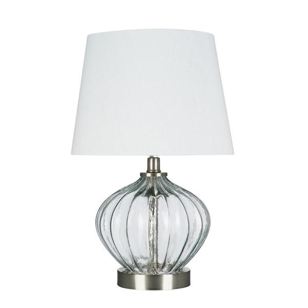 16.5 in. Clear Glass Accent Lamp and LED Bulb