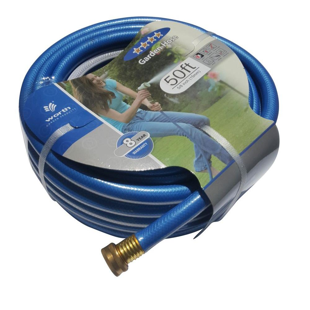 Worth Garden 5/8 in. Dia x 50 ft. 4 Stars Blue Garden Hose The 4 stars 5/8 in. x 50 ft. blue medium duty hose weights 5.8 lb. It is a flexible and durable product. The water flows smoothly from the blue and white strips color tube. A handsome piece for you to add in the garden.