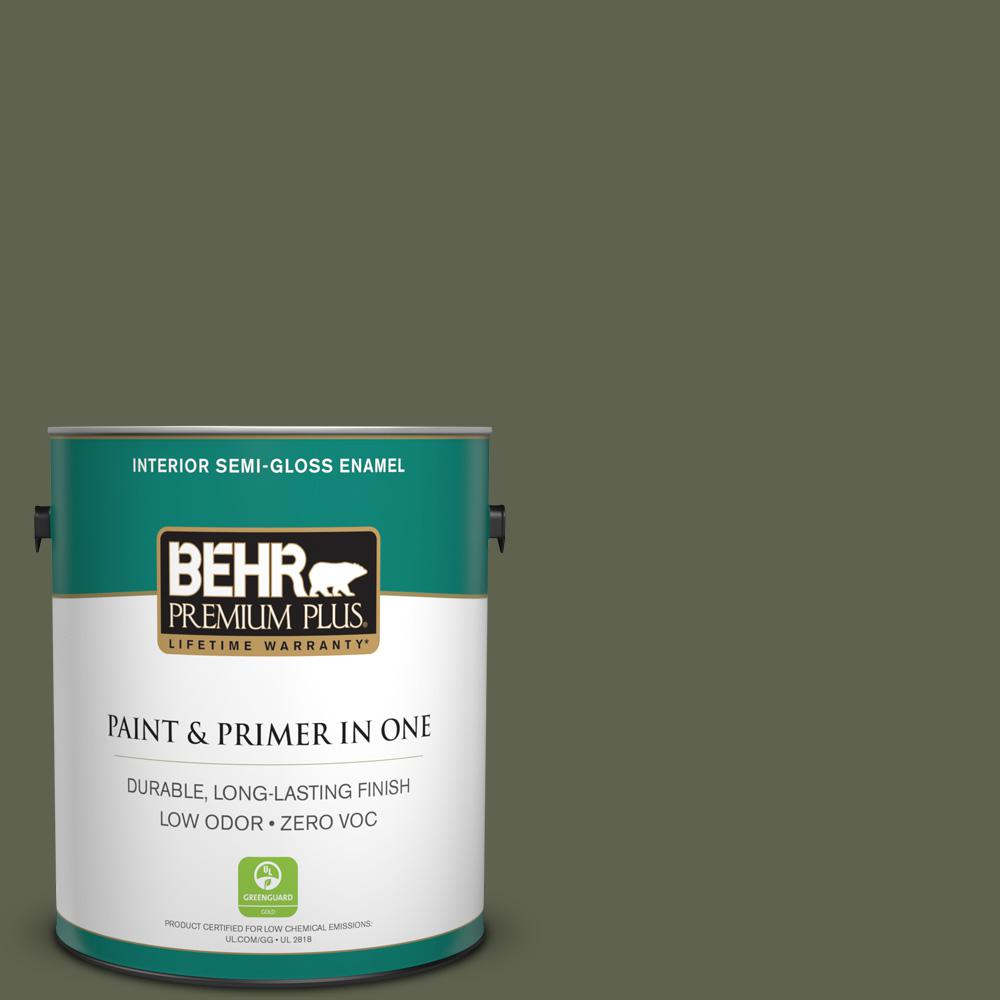 1-gal. #N350-7 Russian Olive Semi-Gloss Enamel Interior Paint