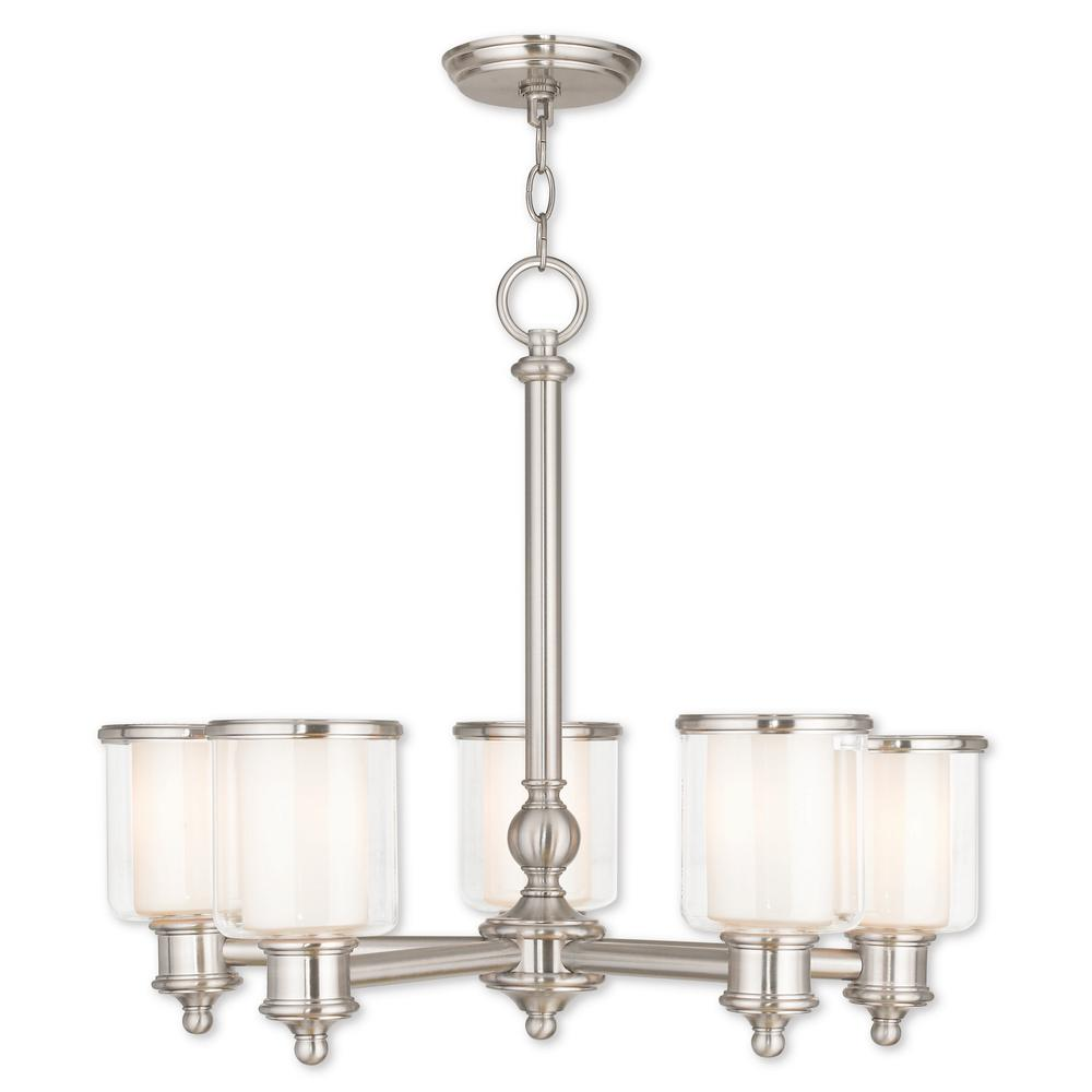 Livex Lighting Middlebush 5-Light Brushed Nickel Chandelier with Hand Crafted Clear and Satin Opal White Glass Shade