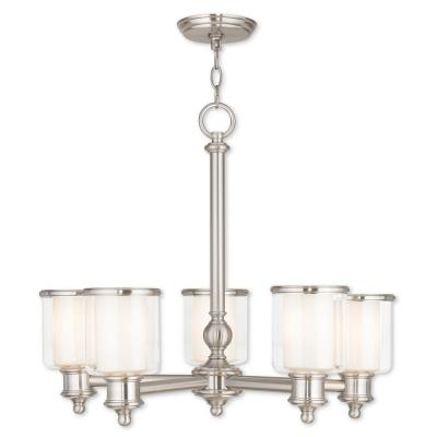 Middlebush 5-Light Brushed Nickel Chandelier with Hand Crafted Clear and Satin Opal White Glass Shade