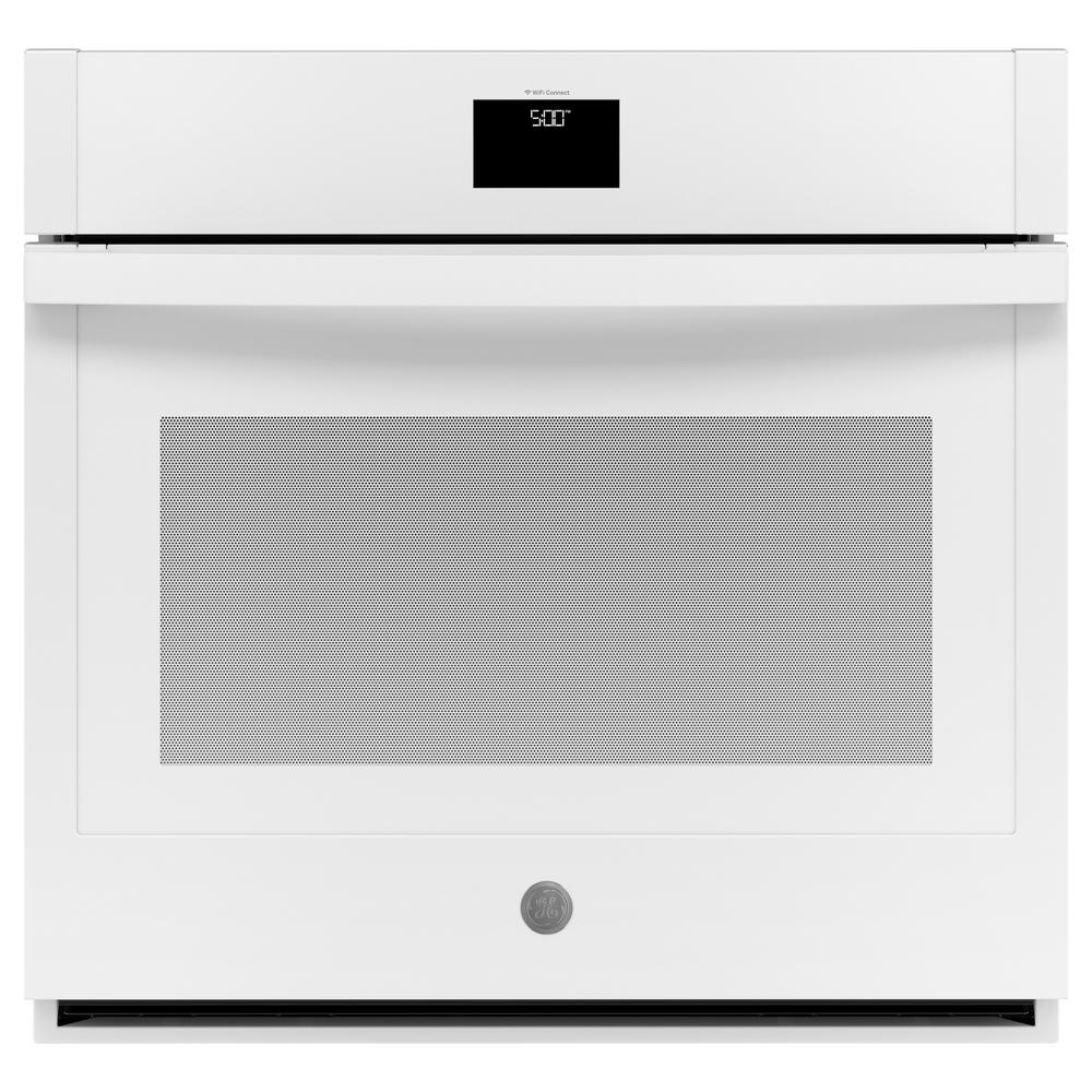 GE 30 in. 5.0 cu. ft. Smart Single Electric Wall Oven Self-Cleaning with Steam in White