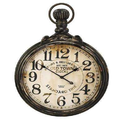 Alexander 39 in. x 27.5 in. Round Wall Clock in Distressed Black