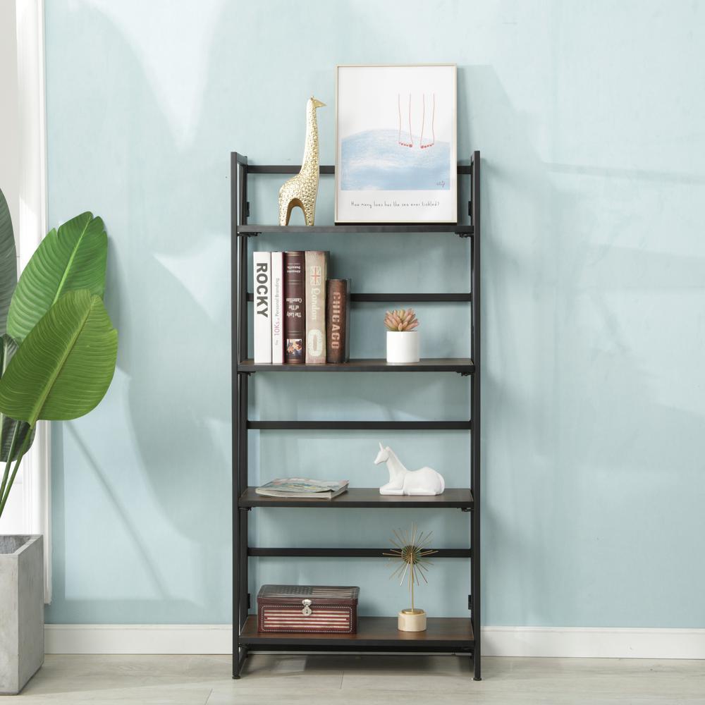 4-Tier Folding Metal Etagere Bookcase