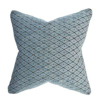 Blue Lattice Flocked Designer Throw Pillow