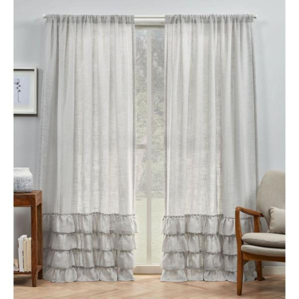 Jacinta Grey Bottom Ruffle Sheer Rod Pocket Top Curtain Panel 54 in. W x 96 in. L (2 Panels)