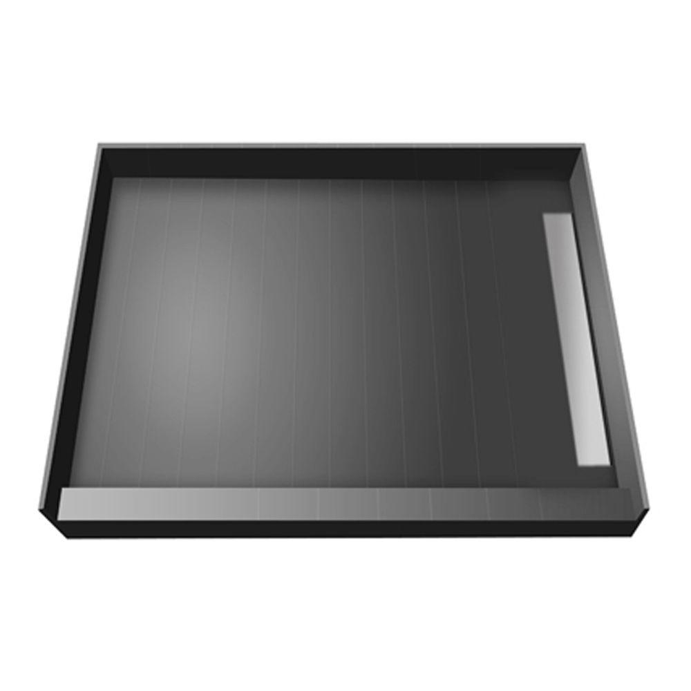 WonderFall Trench 48 in. x 48 in. Single Threshold Shower Base with Right Drain and Tileable Trench Grate