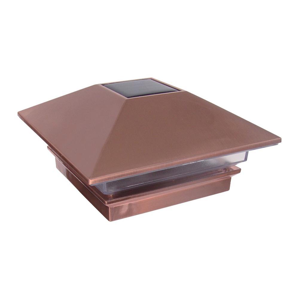 4 in. x 4 in. 3 Lumens Copper Plated Plastic Solar Post Cap (Common: 4 in. x 4 in. ; Actual: 3-5/8 in. x 3-5/8 in. )