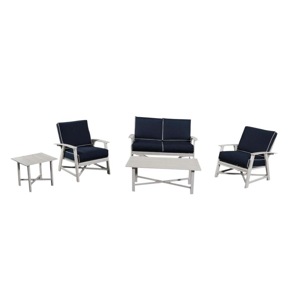 St Augustine 5 Piece Aluminum Patio Set With Coastal Blue Cushions