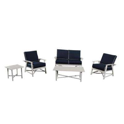 St. Augustine 5 Piece Aluminum Patio Chat Set With Coastal Blue Cushions