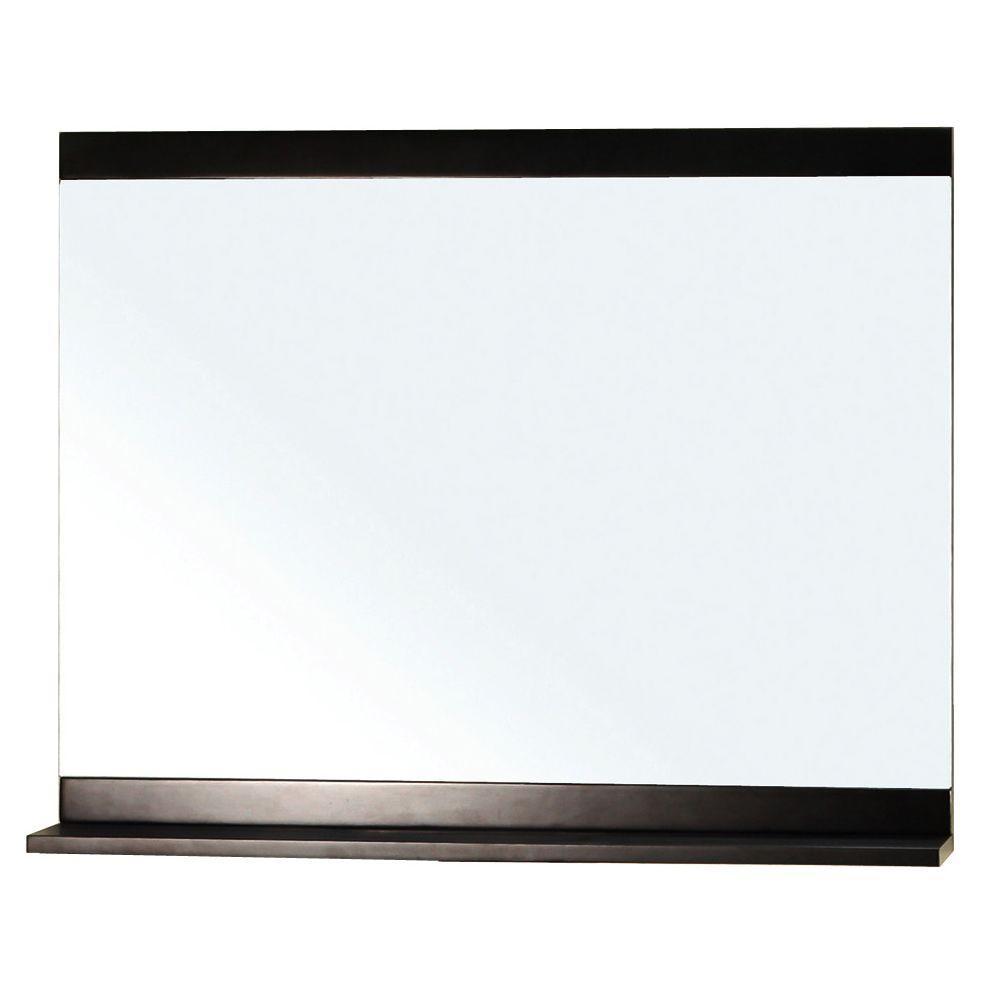 Belfast 30 in. L x 36 in. W Solid Wood Frame Wall Mirror in Dark Espresso