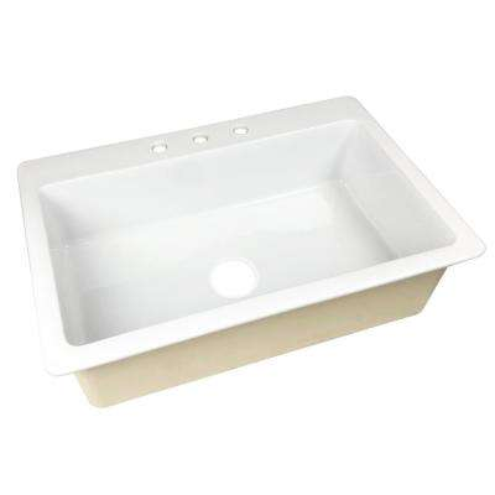 Jackson Drop-in Fireclay 33 in. 3-Hole Single Bowl Kitchen Sink in Crisp White