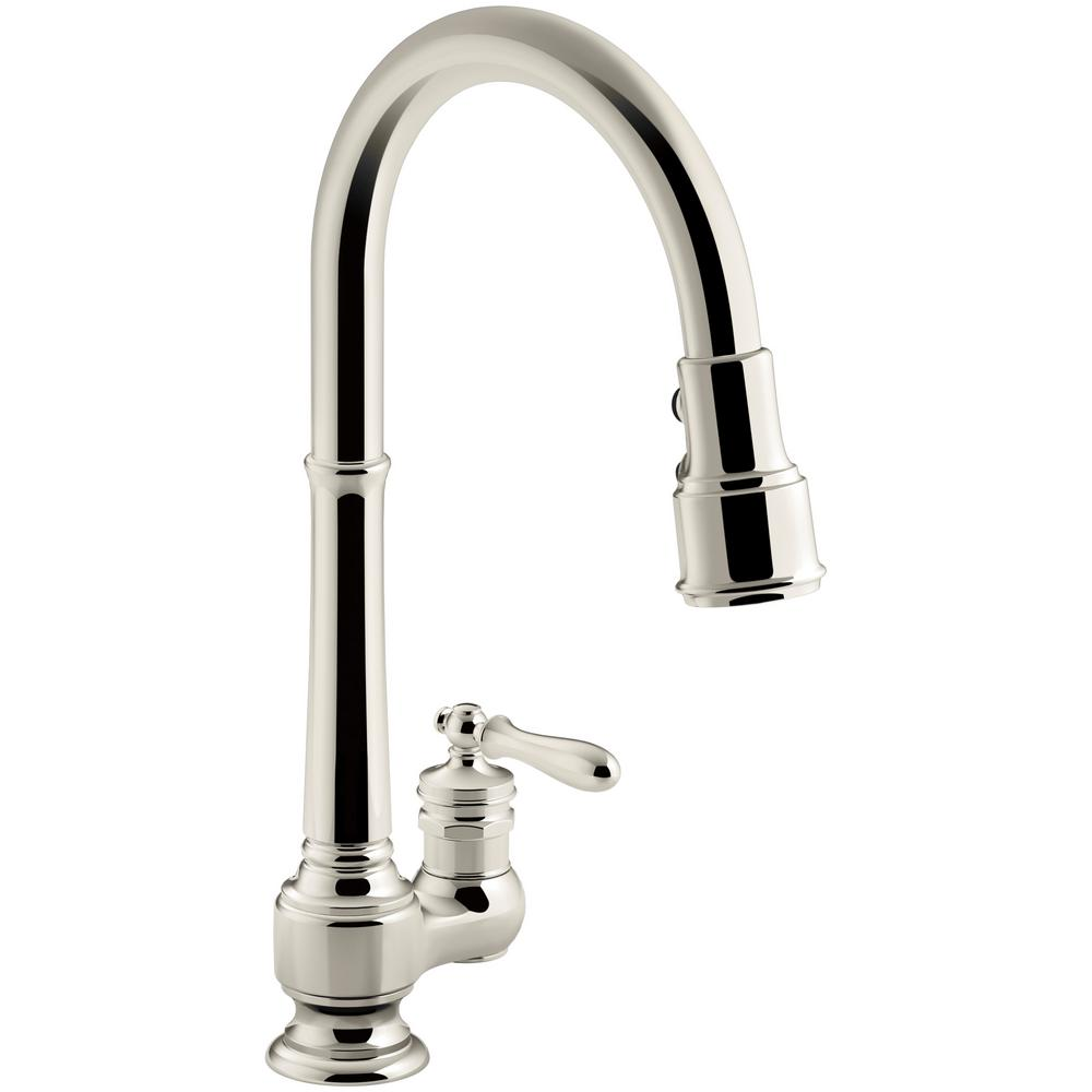 Artifacts Single Handle Pull Down Sprayer Kitchen Faucet In Vibrant Polished Nickel