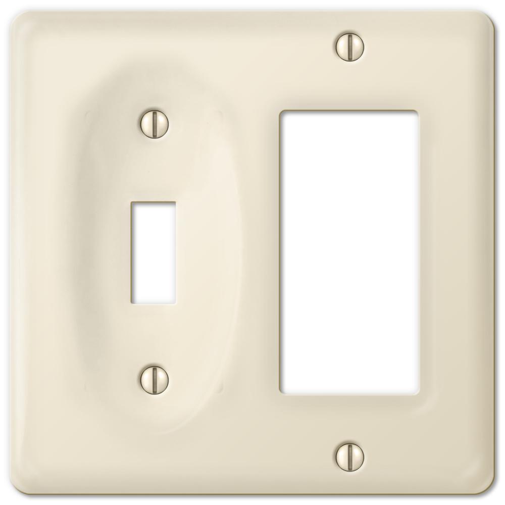 Amerelle Allena Ceramic 1 Toggle 1 Duplex Wall Plate, White