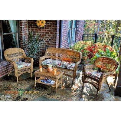 Portside Amber 4-Piece Wicker Patio Seating Set with Zoe Citrus Cushions