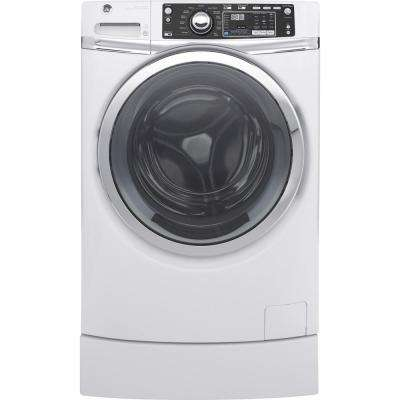 4.9 cu. ft. Front Load Washer with Steam in White ENERGY STAR, Built-in Pedestal Included